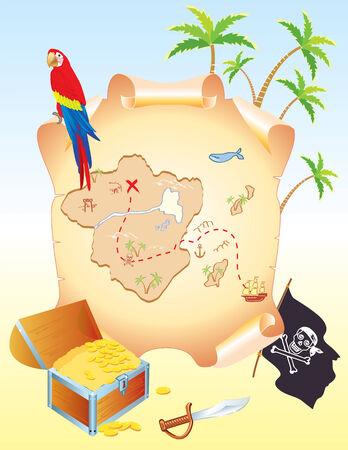 mapa del tesoro: Tesoro del pirata con loro y palmeras. Antiguo mapa del vector