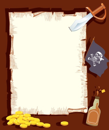 Pirate background for text.Vector cartoons with elements Illustration