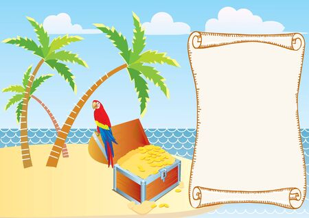 Pirate's treasure with parrot and palms. Vector cartoons background  Stock Vector - 8909698