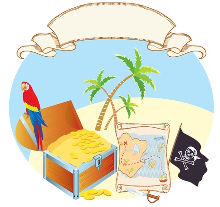 Pirates treasure with parrot and palms. Vector cartoons Vector