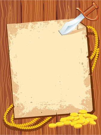 Pirate background paper with knife and gold money for text.  Illustration