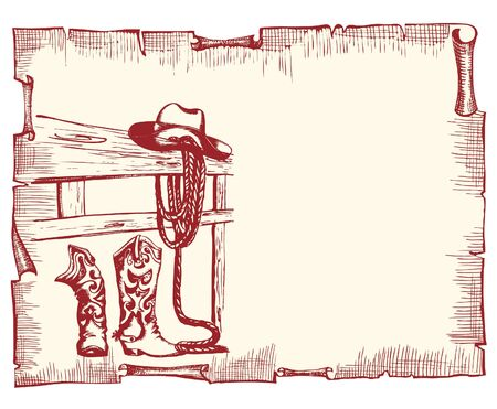 cowboy boots: Cowboy poster.  old paper background