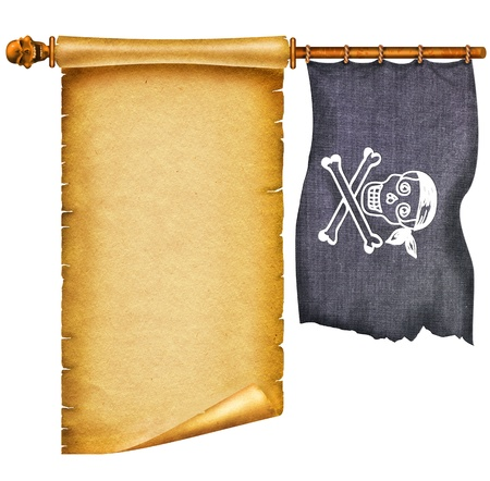 Old apper scroll with pirate skulls and flag on white photo