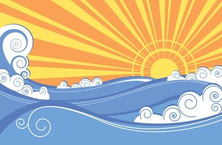 Resumen de las olas del mar. Ilustración vectorial del paisaje de mar