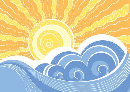 rippled: Astratto onde del mare. Illustrazione vettoriale del paesaggio di mare