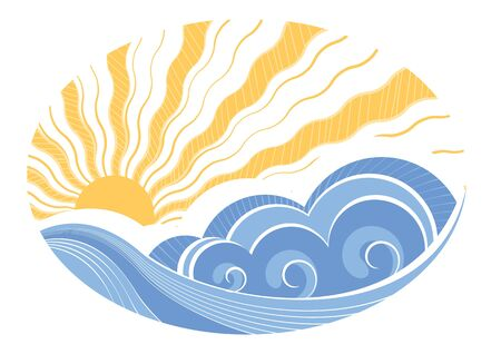 rippled: Abstract sea waves. Vector illustration of sea landscape