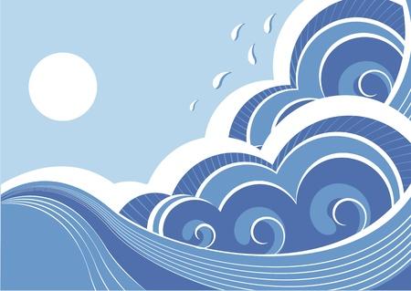 sea: Abstract sea waves. Vector illustration of sea landscape