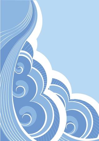 tide: Resumen de las olas del mar. Ilustraci�n vectorial del paisaje de mar Vectores