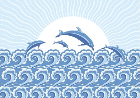 Vector blue dolphins jumping in sea Stock Vector - 8976803