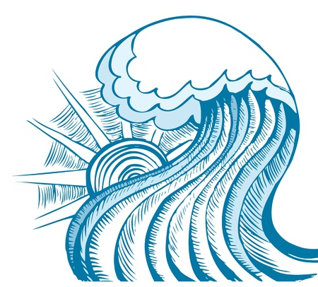 tidal: Abstract sea wave of sea  Illustration