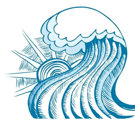 tide: Ola de mar abstracta de mar  Vectores