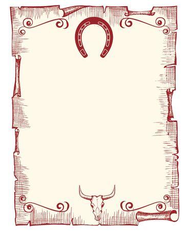 rodeo americano: antiguo fondo de papel con la herradura y cr�neo Vectores