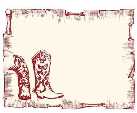oeste: Antiguo fondo de papel con botas de cowboy