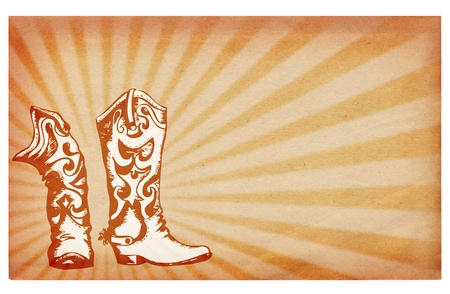 Old paper texture.Antique background with cowboy boots photo