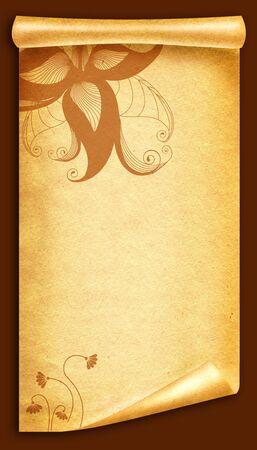 vintagel: Floral vintagel background.Old paper scroll Stock Photo