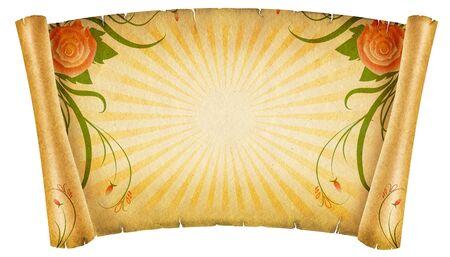 vintagel: Floral vintagel background.Old paper scroll with rose