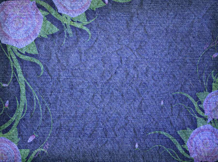 Grungy denim with faded floral effect background.Vintage texture photo