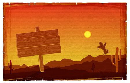 Cowboy at sunset texas background with board for design photo