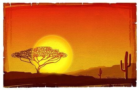 African sunset illustration on old paper texture.Savanna background illustration