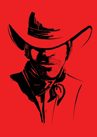 males only: portrait of cowboy on red.Strong man in cowboy hat
