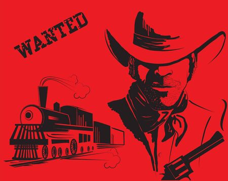 bandits: cowboy and train. Western bandit life Illustration