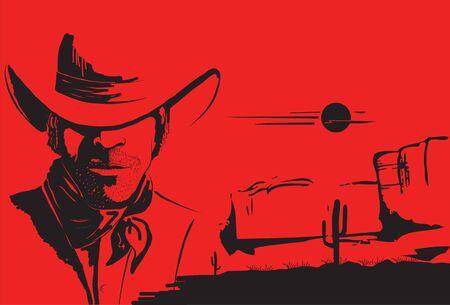 Portrait of cowboy man. poster background  Vector