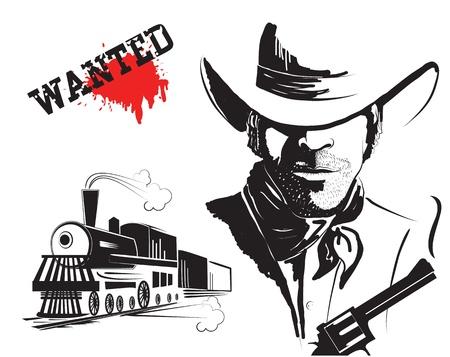 bandits: bandit and locomotive. Western poster Illustration