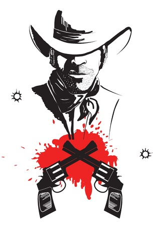 bandits: Cowboy in hat with blood guns graphic poster