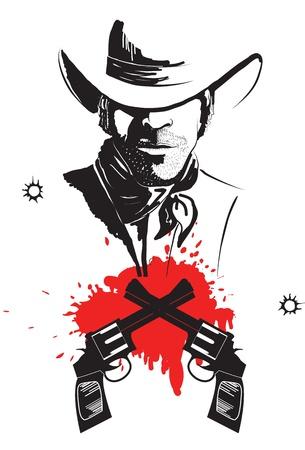 bandidas: Vaquero en sombrero con cartel de gr�fico de ca�ones de sangre Vectores