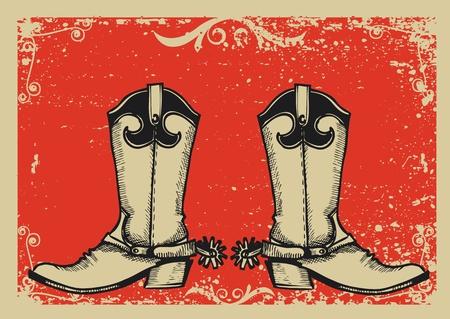vaquero: Imagen gr�fica de botas de Cowboy con fondo de grunge