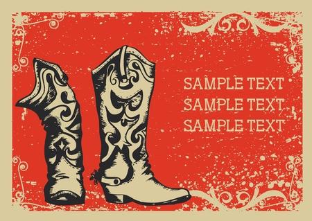 vaquero: Botas de Cowboy.Imagen de gr�fico vectorial con fondo de grunge para texto