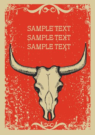 Cowboy old papaer background for text with bull skull .Retro image for text Illustration