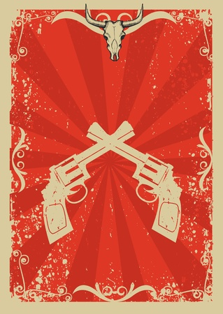 cowboy gun: Cowboy old paper background for text with bull skull and guns .Retro image for text Illustration
