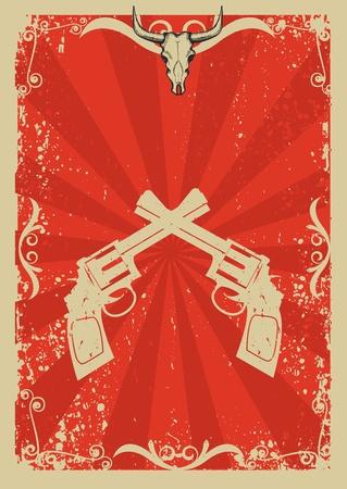 geweer: Cowboy oud papier achtergrond voor tekst met stier schedel en geweren.Retro afbeelding voor tekst Stock Illustratie