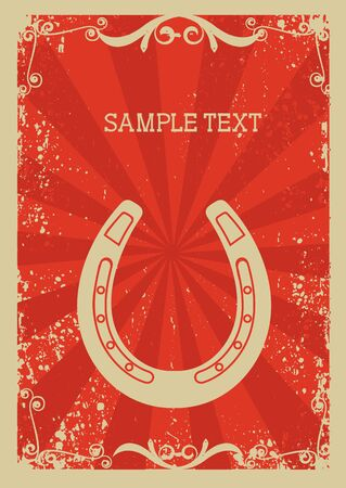 Cowboy old paper background for text with horseshoe .Retro image for text Vector