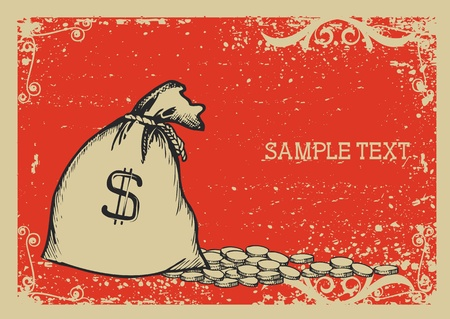 Money bag .Vector graphic image with grunge background  Vector