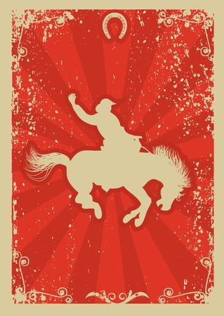 Rodeo cowboy.Wild horse race.Vector graphic poster with grunge background Vector