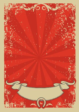 Cowboy background for text.Vector red graphic poster  Vector