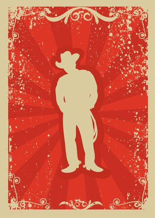 Cowboy poster.Vector graphic image  with grunge background Vector