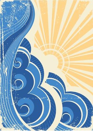 Sea waves. Grunge vector illustration of sea landscape Stock Vector - 9116874
