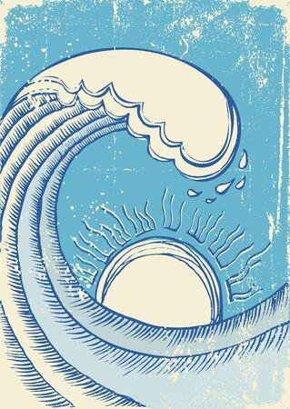rippled: Onda di mare astratto. Illustrazione vettoriale grunge di mare