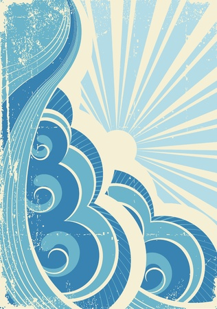 dirty water: Vintage sea waves and sun. Vector illustration of sea landscape Illustration