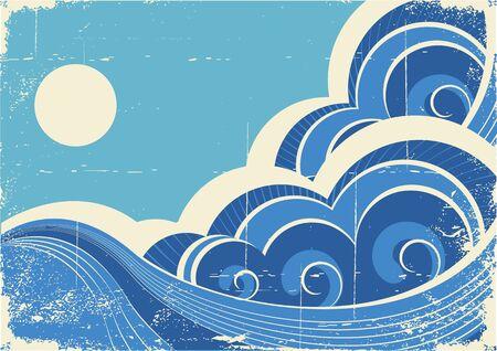 Abstract sea waves. Vector grunge illustration of sea landscape Vector