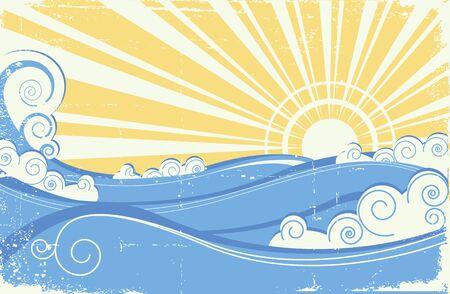 paesaggio mare: Onde del mare d'epoca. Illustrazione vettoriale di paesaggio di mare con il sole Vettoriali