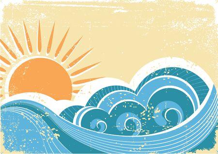 paesaggio mare: Onde di mare del grunge. Illustrazione vettoriale vintage del paesaggio di mare Vettoriali
