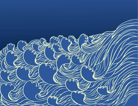 Abstract sea waves. Vector illustration of sea landscape Vector