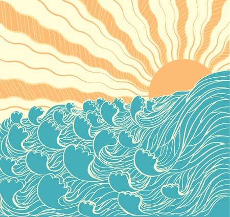 tidal: Abstract sea waves. Vector illustration of sea landscapewith sun