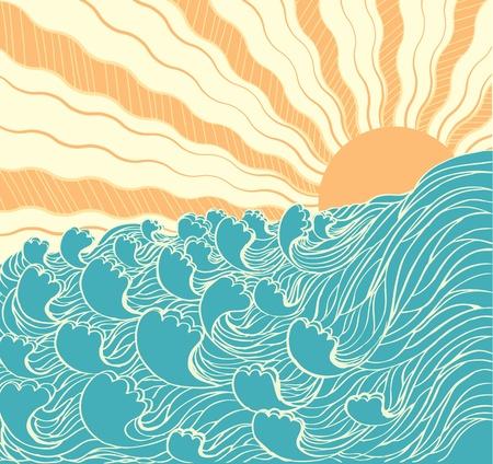 tide: Resumen de las olas del mar. Ilustraci�n vectorial de sol de landscapewith de mar Vectores