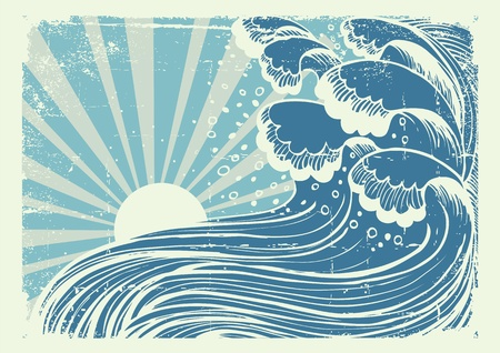 Storm in blue sea.Vectorgrunge image of big waves in sun day Vector