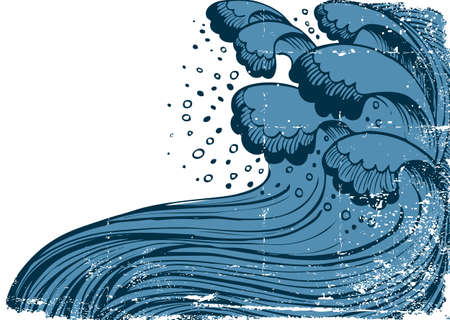 sea disaster: Storm in blue sea.Vector big waves on white grunge background